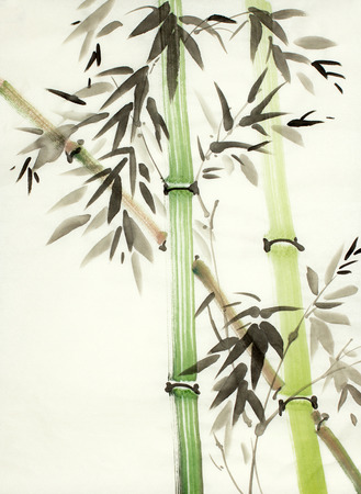 Chinese painted green bamboo trees