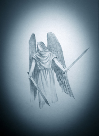 angel with two swords in their hands