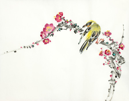 bird and plum branch on a light background Stockfoto