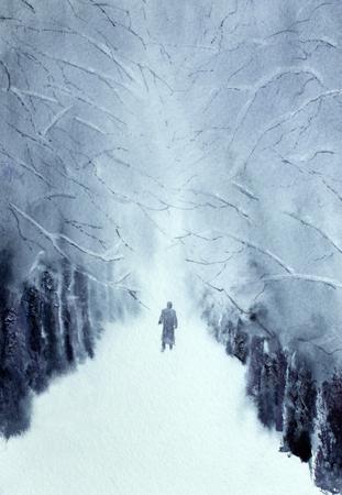 man walking in the winter park Reklamní fotografie