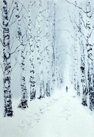 winter walk in a lonely man's birch park Stok Fotoğraf - 115053514