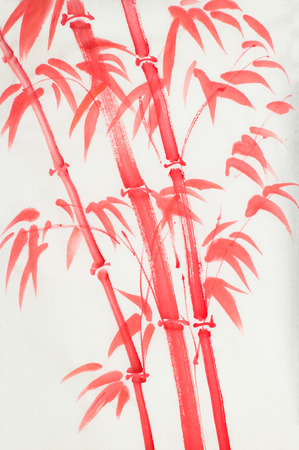 bright red bamboo on a light background
