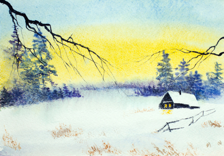 bright winter sunset and forest hut