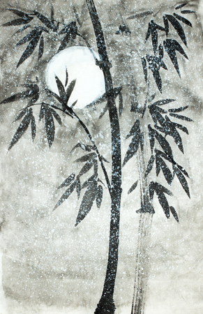 bamboo under the snow and the moon