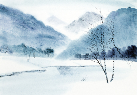 winter mountain landscape and river 免版税图像