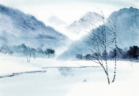 Winterberglandschaft und Fluss