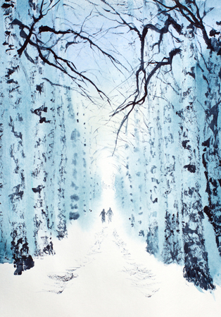 winter birch park and two people Stok Fotoğraf