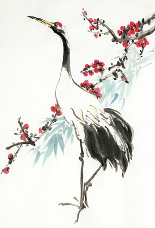 crane and flowering plum branch on a light background