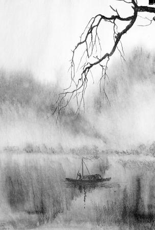 branche d'arbre sur fond de montagnes brumeuses et d'un lac Banque d'images