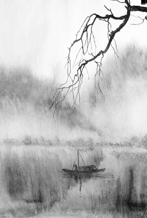 tree branch on a background of misty mountains and a lake Imagens - 120025530