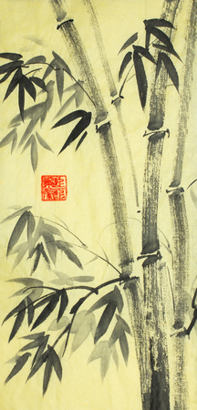 bright bamboo trees painted in chinese style