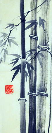 Chinese style bamboo trees Imagens