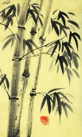 harmonious bamboo trees on a yellow background