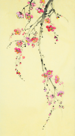 plum blossom on a yellow background