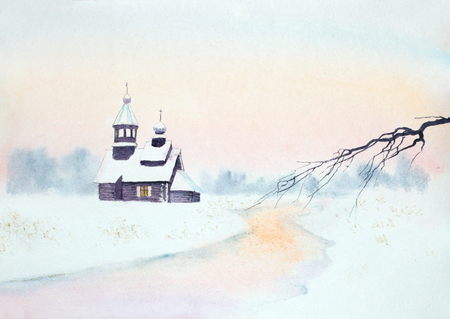 winter landscape with river and wooden church