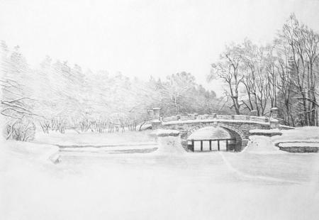 snowy winter in Pavlovsk park Imagens