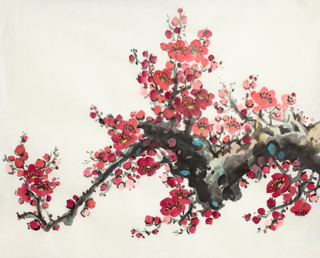 flowering plum branch on a light background