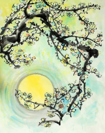 flowering branch of plum on the background of the spring sun Imagens
