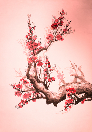 flowering plum branch on a pink background
