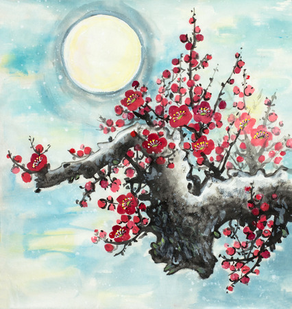 flowering plum branch on the background of the moon Imagens