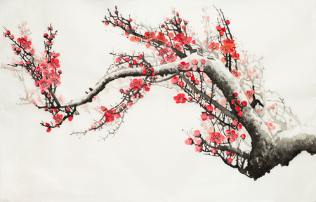plum blossoms on a light background Archivio Fotografico - 120025564