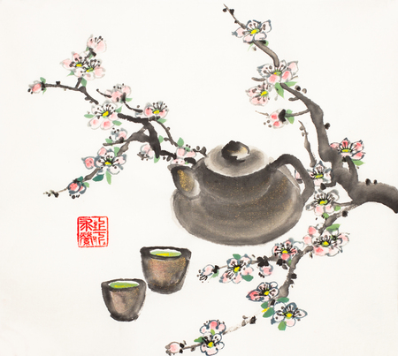 plum blossom branch and clay teapot with a cup of green tea Imagens