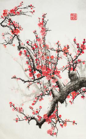 Pflaumenblüten auf hellem Hintergrund