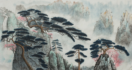 Chinese landscape with pine mountains and blooming wild plum