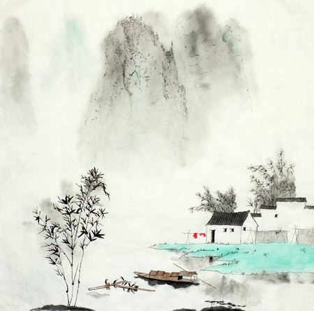 mountain landscape with a fishing house by the lake and a boat drawn in Chinese style Stok Fotoğraf