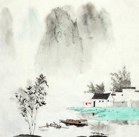 paysage de montagne avec une maison de pêcheur au bord du lac et un bateau dessiné à la chinoise