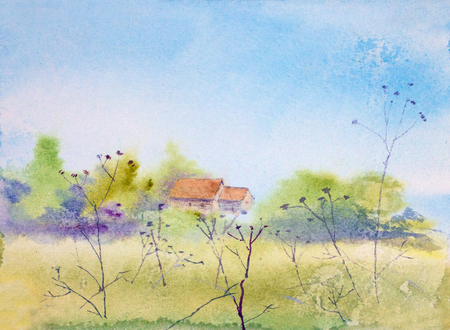 bright spring landscape with field and house