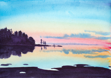 painted summer landscape with lake rocks and sunset