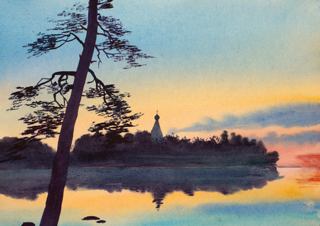 summer landscape with church and sunset lake