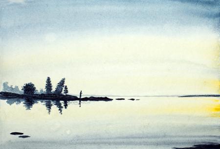 praying monk on the shore of Lake Ladoga