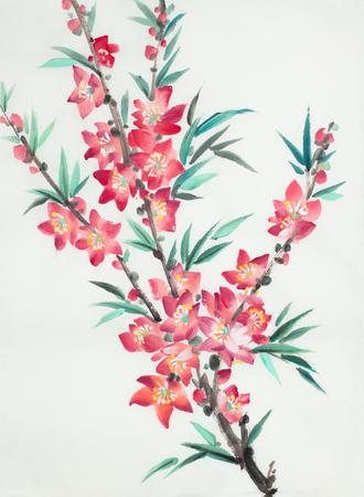 bright branch of flowering peach