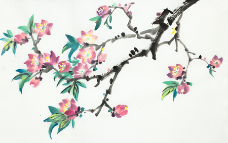 bright branch of flowering peach on a light background 스톡 콘텐츠