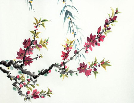 branch of flowering peach on a light background 스톡 콘텐츠