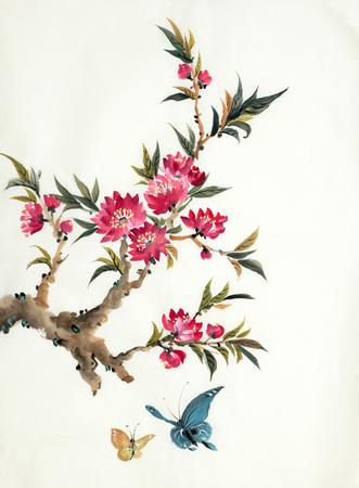 branche fleurie de pêche et de papillons sur fond clair Banque d'images