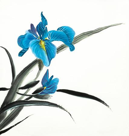 bright flower of blue iris on a light background