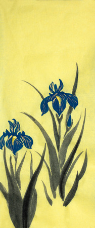 blue iris flowers on a yellow background