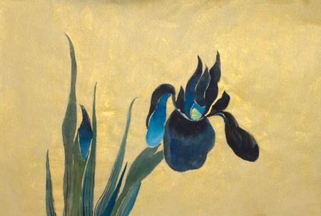 blue iris flowers on a gold background