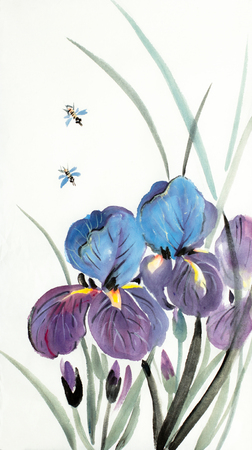 lilac blue flowers irises on a light background