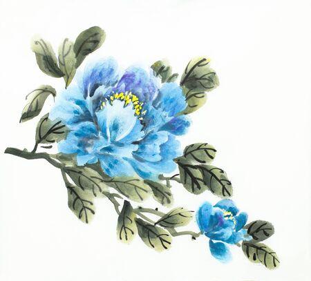 blue peony flower on a light background Stock Photo