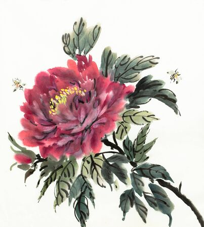 blooming red peony on a light background