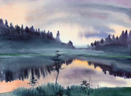 morning fog over a forest lake