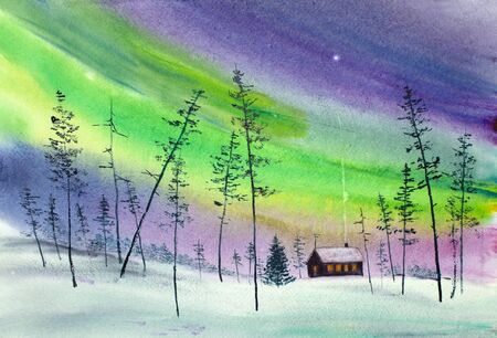 bright christmas night and the northern lights Stock Photo