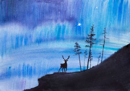 bright northern lights and deer Stock Photo