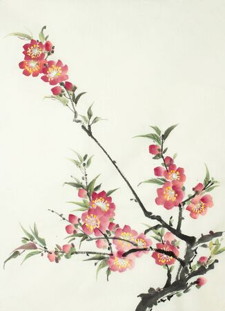 branch of a blossoming peach on a light background