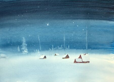 snowy christmas night and bright christmas star