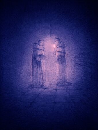 two monks with candles in the dark